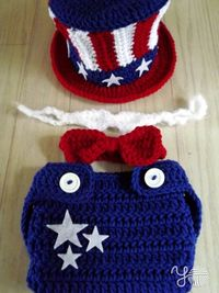 Uncle Sammy Set Patriotic Hat and Diaper Cover by YarnOverCrochet, $40.00