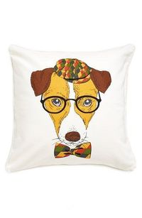 """Free shipping and returns on Levtex 'Dog With Hat & Glasses' Accent Pillow at Nordstrom.com. A charming accent pillow features a printed pup sporting round-rimmed glasses, an argyle driver's cap and a matching bow tie�€""""for a ca..."""