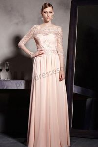 Pink Half Sleeve Lace Elegant long Party Dress SO596
