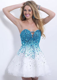 2015 Cutout Bust Crystals Beaded Strapless Blue White Cocktail Dress