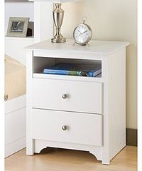 Winslow White 2-drawer & Open Cubbie Nightstand | Overstock.com Shopping - The Best Deals on Nightstands
