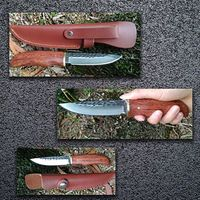 Hand forged Hunting Knife Fixed Blade Wood Handle Leather Sheath $49.00