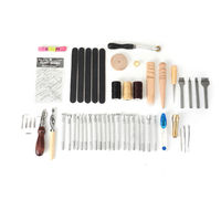 50PCS Leather Craft Tools Kit Hand DIY Sewing Stitching Carving Work Punch Saddle for Leather Working