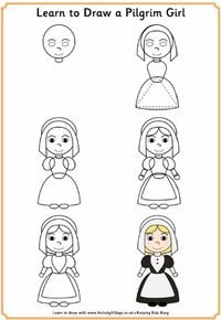 Learn to Draw a Pilgrim Girl