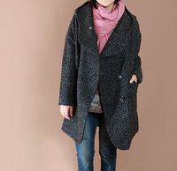 Dark gray loose fitting hooded Double breasted long wool coat/ women Plus Size wool Coat