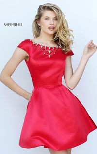 A-Line Short Red Homecoming Dress Affordable Unique Sherri Hill 50534 Cap Sleeves
