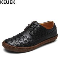 Fashion Men Flats Genuine leather Lace-Up Casual shoes Wear-resistant Breathable Hand-woven Male leather shoes black brown 03A $54.84
