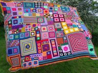 ~ Large Patchwork Crochet Blanket...