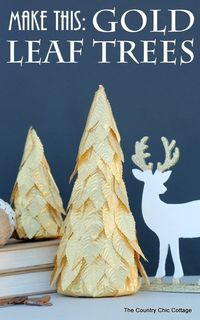 Learn how to make these fun gold leaf trees for your holiday decor. These only take minutes to make and will look great for Christmas.