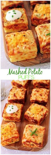 Mashed Potato Puffs | Mashed potatoes get a new lease on life with the help of cheddar, sour cream, chives and a muffin pan!