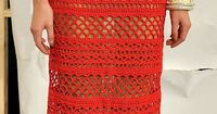 #Crochet Red long dress with diagrams, and excellent close up pictures