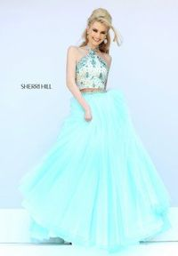 Sherri Hill 32231 Blue Beaded Two Piece Halter A Line Ball Gown