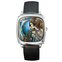 Art Nouveau Lady w/ Blue Background on a Womens Silver Square Watch with Leat... $32.00