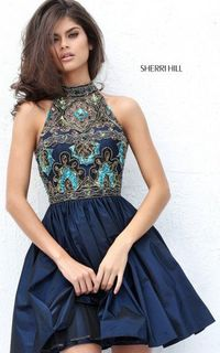 SHORT TAFFETA A LINE NAVY SHERRI HILL 50706 HOMECOMING DRESS CHEAP