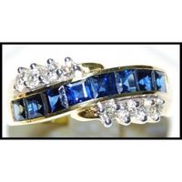 Diamond For Men Blue Sapphire 18K Yellow Gold Natural Ring [RQ0045]