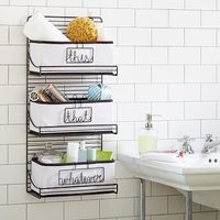 3-Tier Wire Bath Shelf #potterybarnteen Clean lines and a black finish give these spacious organizing shelves simple sophistication. Add our Canvas Bin with Wire Word Labels (sold separately) to keep every bath essential just where you need it. 12...