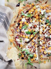 MAKE THIS CRUST! Roasted Butternut Squash Pizza with Caramelized Onions and Goat Cheese {grain free, gluten free}