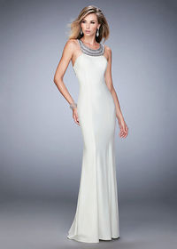 Modern Unique Beaded Scoop Neck Ivory Open Back Jersey Evening Gown