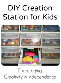 Encourage independent play and creativity by setting up a creation station for kids to use when doing their own crafts and projects. At the same time kids are p