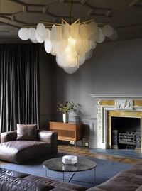 Great moody interior design and awesome ceiling and chandelier