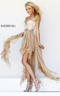 Nude Sherri Hill 1920 High Low Pom Dress