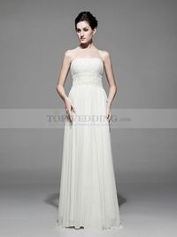 IVORY STRAPLESS CHIFFON A LINE PROM DRESS WITH LACE WAIST