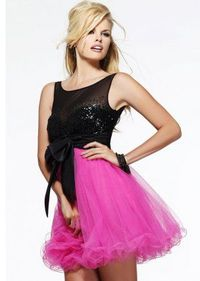 Black Sequined Sheer Top Party Dress With Hot Pink Tulle Skirt