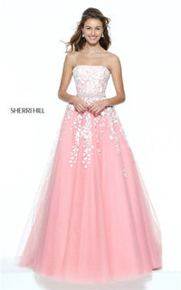 Light Coral/Ivory Lace Strapless Appliques Sherri Hill 50864 Long Princess Gown