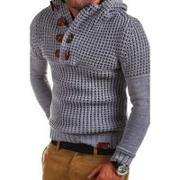 Men's High Quality Design Fashion Hooded Solid Color Sweater $39.68