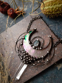 Quartz and Stain Glass Moon pendant with irisation, bright necklace Lunula, Double Horn Pendant, half moon, Boho Necklace - Luna. $29.00