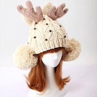CHRISTMAS PRETTY METALLIC BEADS CONTRAST COLOR ANTLER POM HAT WINTER BEANIE