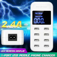 LED Multi USB Charger 8-Port Smart Fast Desktop Hub Wall Charger Charging Station Quick Charge Intelligent Identification Phone Charger