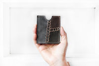 Upcycled hand-stitched detail leather slip wallet $46.00