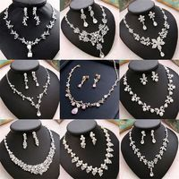 CC Wedding Engagement Jewelry Necklace Earrings Bracelets 2Pcs Sets Bridal Hair Accessories For Cubic Zircon Pearl Charm m011 $24.46