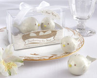"""Seldom does a more enchanting baby shower favor come along than Kate Aspen's tender """"Feathering the Nest"""" salt and pepper shakers. A loving mother bird and smaller baby bird, both endearingly designed from beak to tail, bring a very specia..."""