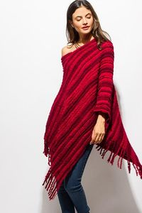 Burgundy Fuzzy Knit Boho Sweater Poncho One Size $45.00