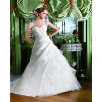 Exquisite A-line Sweetheart Lace Sweep/Brush Train Satin&Organza Wedding Dresses - Dressesular.com