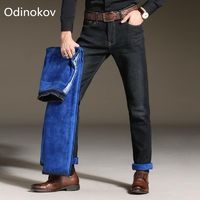 Odinokov Brand Fit -10 Men Winter Thicken Stretch Denim Jeans Warm Blue Thick Fleece Jean Stretch Pants Trousers Size Plus Size $25.62