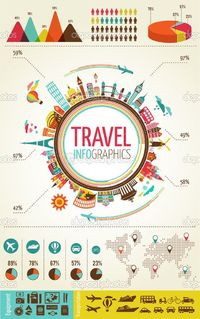 Travel and tourism infographics with data icons, elements by marish - Stockvectorbeeld