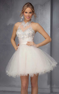 Champagne Embellished Cocktail Homecoming Dress by Sticks and Stones by Mori Lee 9289