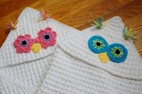 Crochet Pattern - Owl Hooded Baby Towel (also makes a great hooded blanket) - Immediate PDF Download- pattern to buy $5