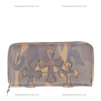 Chrome Hearts 3 Cross Fzip Leather Camouflage Wallet