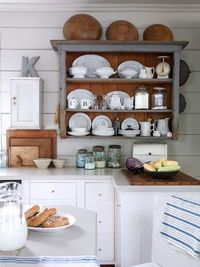 hutch top hung on wall makes great kitchen storage