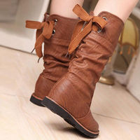BACK LACE UP MID CALF RIDING BOOTS HIDDEN WEDGE SHOES Price:$35.99
