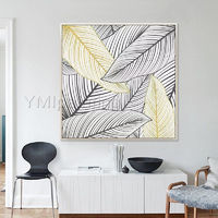 Gold art Abstract painting acrylic tree leaf Paintings on Canvas extra Large framed Wall Art Pictures Original Art Wall Decor $148.75