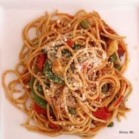 Simple healthy recipe for Pasta Puttanesca with Baby Spinach
