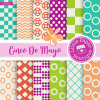 Cinco de Mayo digital papers Cinco de Mayo clipart Fiesta digital paper Cinco de mayo stickers pinata cactus sombrero pepper tequila $3.00