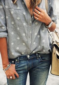 A great casual look ... boots, jeans & a sprinkle of polka dots   from Julie
