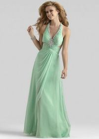 Beaded V Neck Pleated Halter Mint Green Cutou Back Straps Evening Dress