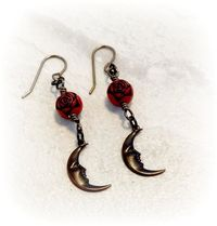 Moon Face Earrings, Crescent Moon Jewelry, Gift Idea for Her $28.00